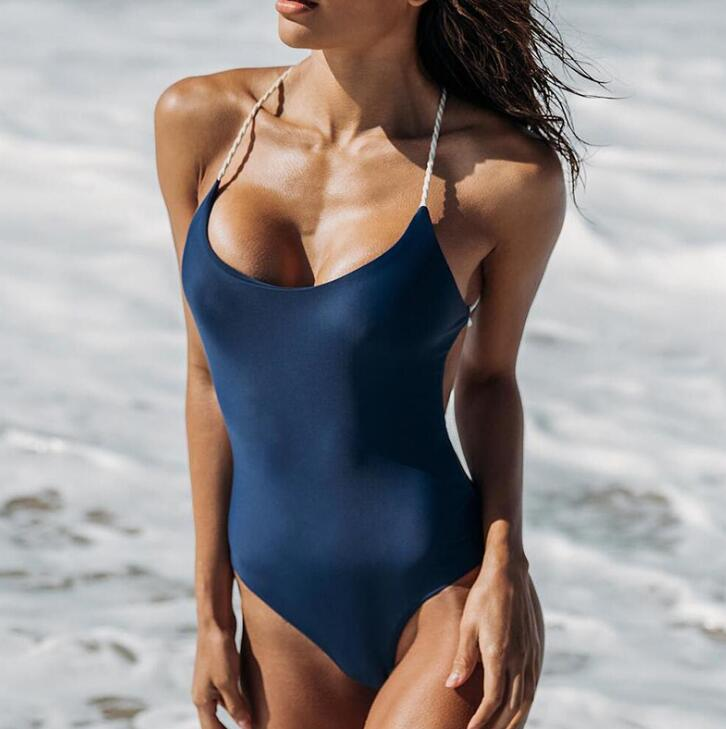 Sexy pure navy blue vest backless polyline cross one piece bikini show thin