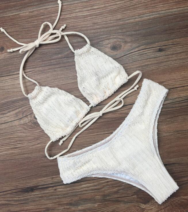 Sexy pure white weave knit two straps halter back knot two piece bikini