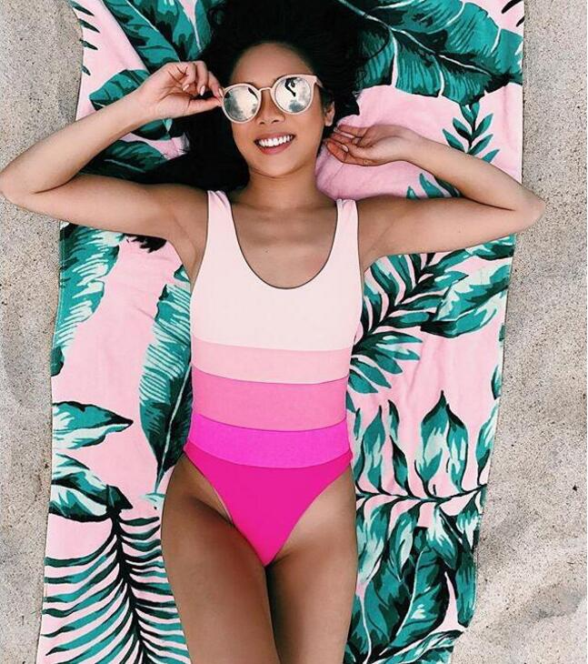 Sexy fashion pink rose red vest stripe gradient backless one piece bikini show thin