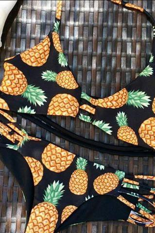 Pineapple Pattern Summer Fashion Style Lovely Women Bikini/Swimsuits/Swimwear/Beachwear