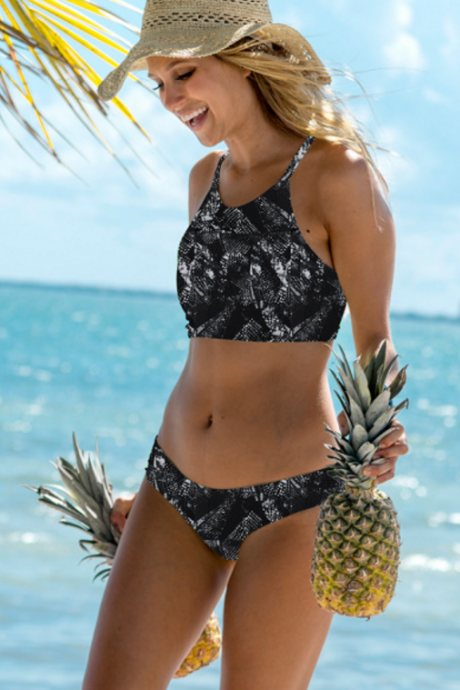 Black print high neck two piece bikini