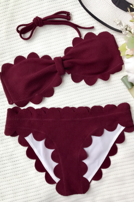 Red Wine Scalloped Strapless Bikini