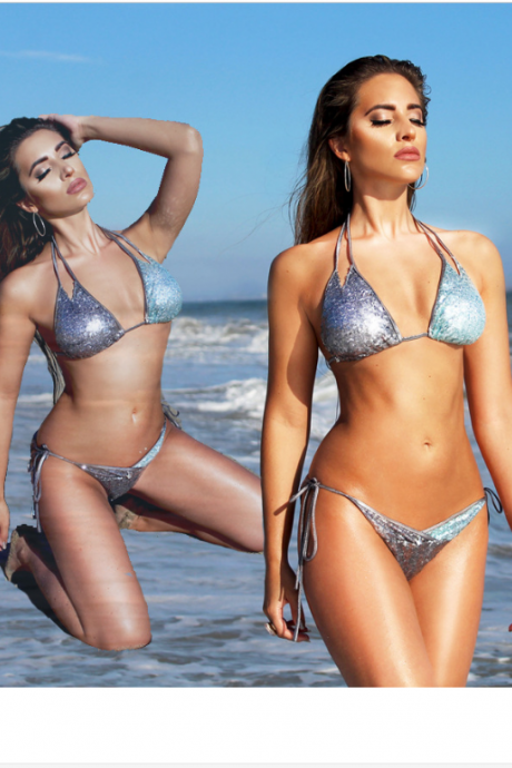 Sexy sliver Sequins shining two straps bottom side knot two piece bikini swimsuit