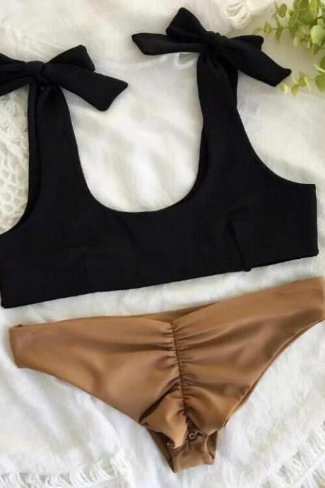 Fashion hot black vest shoulder knot bottom brown color two piece bikini set