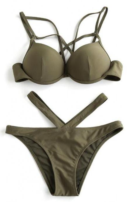 Hot sale pure army green polyline open two piece bikini show body
