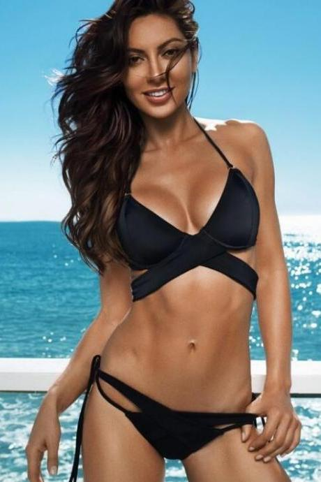Sexy black pure halter chest straps cross bottom side knot open two piece bikini