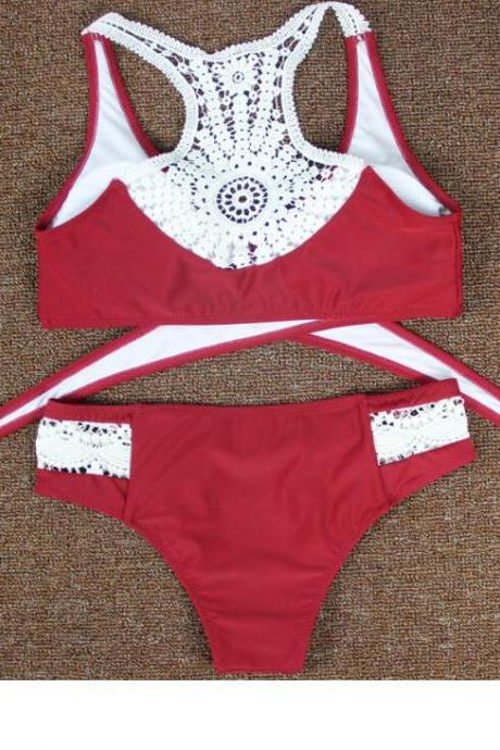 2017 Sexy Women Swimsuit Crochet Top Bikinis Set High Neck Halter Bikini Swimwear red edge lace two piece bikini