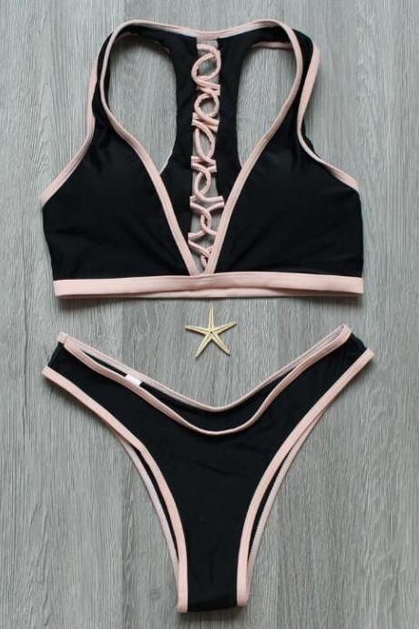 Sexy women fashion new black low chest edge pink back cross hollow two piece bikini