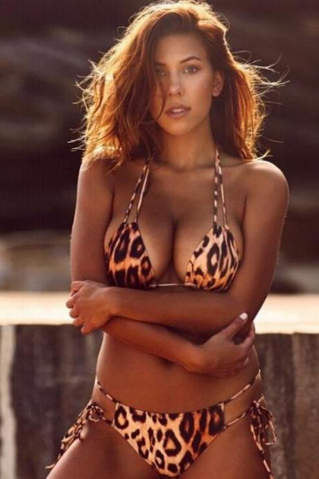 Fashion Leopard print two straps four knot two piece bikini