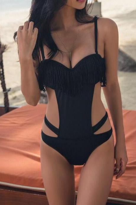 Hot sale pure black bandage side open two piece bikini