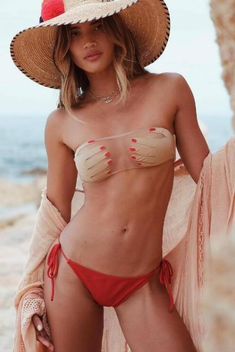 Sexy hot sale perspective hand shape strapless bottom red side knot two piece bikini