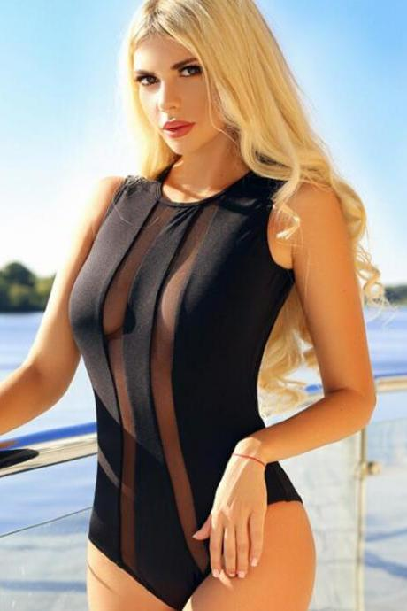 Sexy fashion splicing black gauze high neck backless one piece bikini show thin