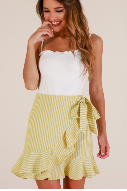 Lotus leaf edge skirt with vertical stripes yellow