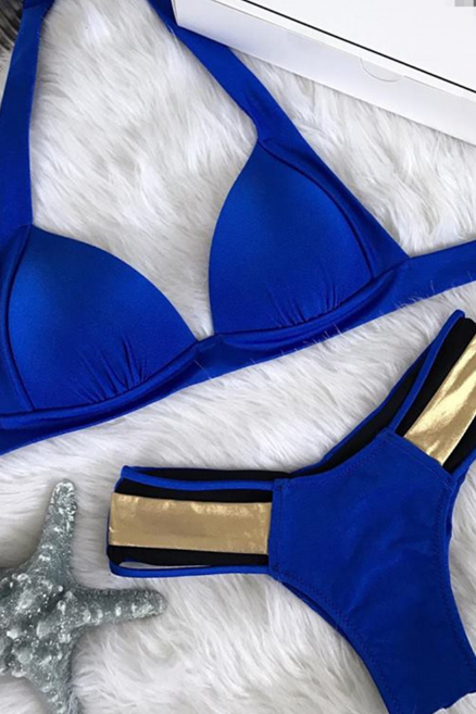 FASHION BLUE HOT GOLDEN BIKINIS TWO PIECES
