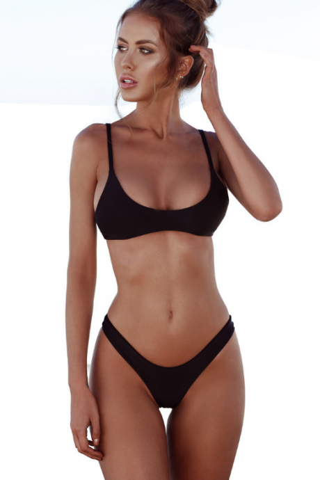 The new three-point polyamide plain size women's swimsuit