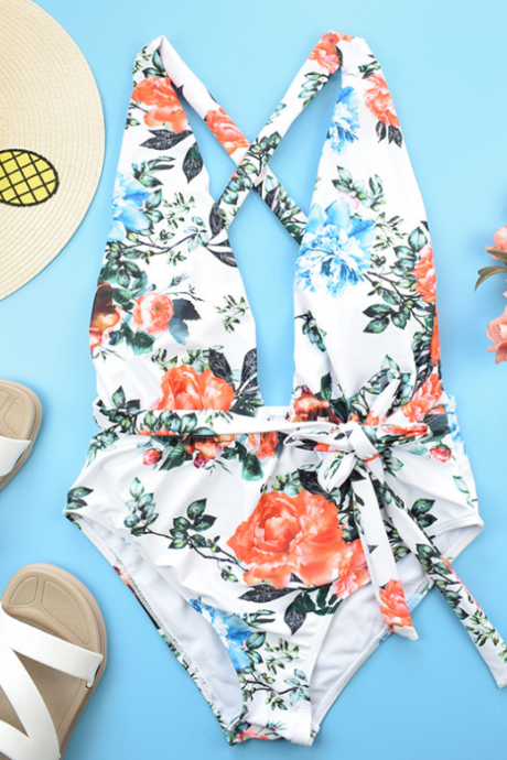 Hot style floral one-piece swimsuit