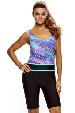 Multicolor splicing printing design with breast pad boxer tight long swim the pool swims wetsuit PURPLE