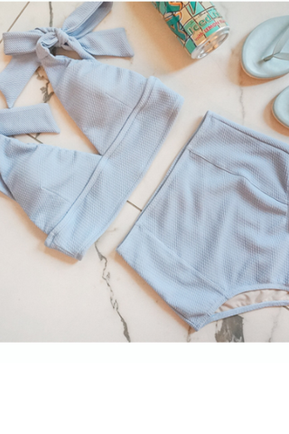 Light blue low chest shoulder bowknot high waist show thin two piece bikini