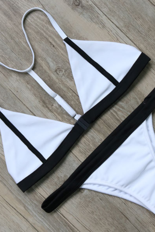 Popular fashion white and black edge two piece bikini swimsuit