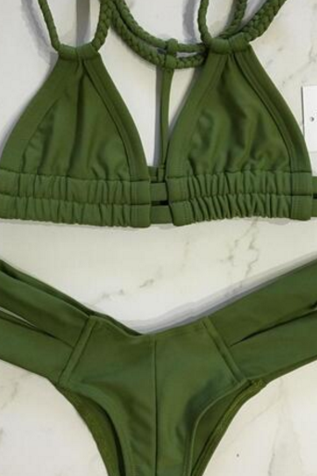 Army green color fashion Braid back knot bikini two strape bikini bottom side open two piece bikini bath suit