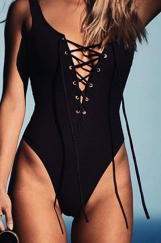 Sexy black chest lace up cross one piece bikini show thin black