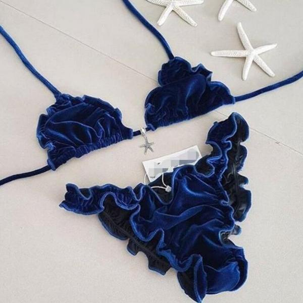 Pure color blue fashion halter back knot Pleated Edge sexy swimsuit set