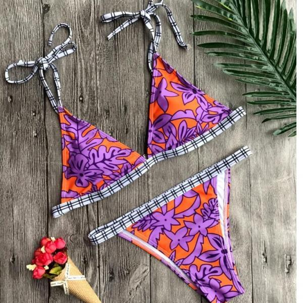 Sexy shoulder knot purple orange print edge white black plaid two piece bikini