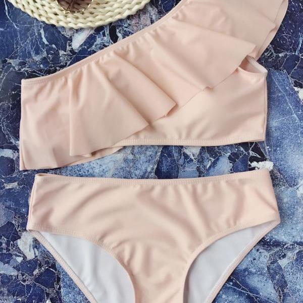 Sexy pure pink one shoulder lotus two piece bikini